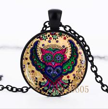 Colorful owl Boho photo Glass Dome black Chain Pendant Necklace wholesale