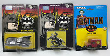 BATMAN & BATMAN RETURNS : CARDED BATMAN FIGURINE, BATMOBILE & JOKER VAN (DEL)