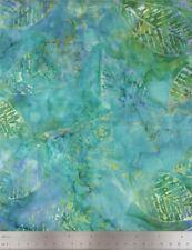 Timeless Treasures Fabric, Tonga Surf Batik, Fossil Leaf on Blue & Green