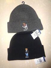 Polo Ralph Lauren Bear Logo Wool/Cotton Skull Beanie Hat Cap NWT