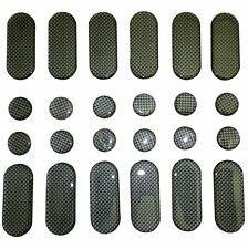STRIPS AND DOTS STICKER DASHES SPOTS GEL MOTORCYCLE BIKE TANK PAD 24 PACK CARBON