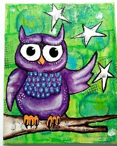 """""""PURPLE OWL"""" mixed Media COLLAGE PAINTING Original GREEN outsider Artist"""