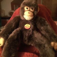 "Vintage Steiff Jocko 15"" Plush Monkey With Chest Tag Excellent Condition"