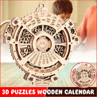 Wooden Mechanical Gear Planetary Perpetual Calendar 3D Puzzle Craft Model Toy