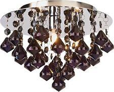 HOME Eve 3 Light Flush Ceiling Fitting Shade - Black Pendant Droplet & Chrome