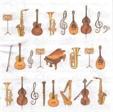 2 Serviettes en papier Musique Instruments Decoupage Paper Napkins Orchestra