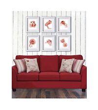 Coastal Decor Red Jellyfish Art Print set of 6 Beach Art Nautical Home Decor