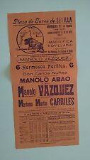 1951 Cartel Plaza de Toros Sevilla Real Maestranza Vazquez Nuñez Abao Carriles