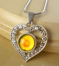 SUNFLOWER small snap button crystal heart pendant w/ steel Necklace gifts