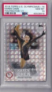 Karen Chen 2018 Topps US Olympics Foilfractor 1/1 PSA 10