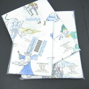 The Company Store Cotton Vintage Wizards Castles Print White Twin Sheet Set