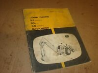 JOHN DEERE 93A 94 95A BACKHOE OPERATOR OPERATION & MAINTENANCE MANUAL BOOK