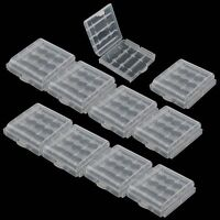 10x Clear Hard Plastic Case Holder Storage Box For Rechargeable AA AAA Battery