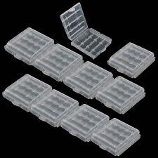 Practical 10 x Hard Plastic Blue Green Case Holder AA / AAA Battery Storage Box