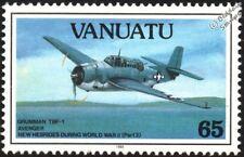 WWII GRUMMAN TBF-1 AVENGER Torpedo Bomber Aircraft Stamp (1993 Vanuatu)