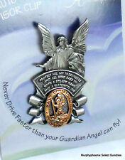 "St. Christopher/Guardian Angel  2-Tone Auto Visor Clip 2-3/8""  NWT FREE SHIP"