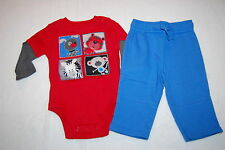 Baby Boys RED L/S SHIRT Layered Look DOG CAT MONKEY ZEBRA Blue Knit Pants 3-6 Mo