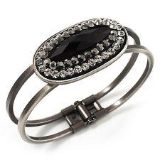 VINTAGE Nero Ovale Diamante a cerniera Bracciale Bangle (Antico TONO ARGENTO)