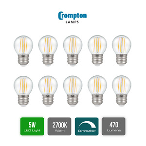 Pack of 10 x Crompton LED Dimmable Filament Golf Ball Light Bulb Clear 5W E27 ES