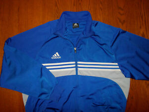 ADIDAS FULL ZIP BLUE ATHLETIC SOCCER JACKET MENS XL EXCELLENT CONDITION
