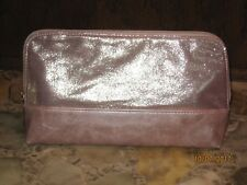 Sephora Metallic Pink Faux Leather Zip Cosmetic Bag NEW