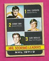 1972-73 TOPPS # 63 ORR / ESPOSITO / RATELLE LEADERS NRMT CARD (INV# C4634)