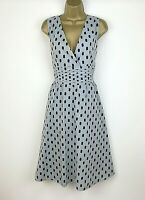 NEW Italian Dress UK Size 14 16 Grey Navy Polka Dot Spotted Womens Summer