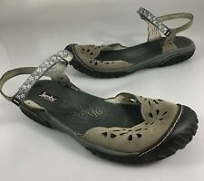 JBU Jambu Womens 11M Too Cut Ocean Mary Jane Vegan Flower Cut Out Gray Sandals