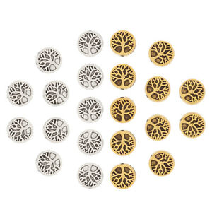 20 x Silver/Gold Tone Life Tree Spacer Beads 2 Sided for Jewellery Making 9x9mm