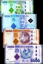 Tanzania 2010-2015, 500/1000/2000/5000 Shillings,  Banknote set UNC