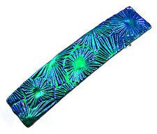 "Dichroic Hair Barrette 2.5"" 9cm Emerald Blue Floral Burst Patterned Fused GLASS"