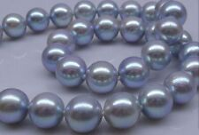 elegant 10-11mm natural south sea  round silver grey pearl necklace 18 inch 14K