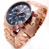 366V Men's New Classic Dress Wrist Watch Rose Gold Strap Black Chronograph Dial