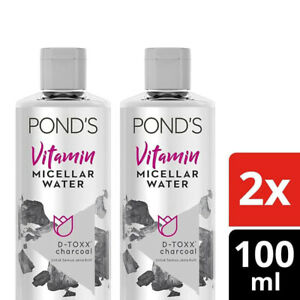 2x [PONDS] Vitamin Micellar Water Makeup Remover D-Toxx Charcoal 100ml