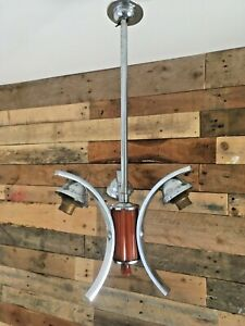 MID CENTURY MODERN 60S CHROME & LUCITE 3 ARM ARCHED CEILING LIGHT ITALIAN DANISH