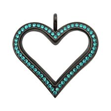 Sharp Heart Black Stainless Steel Locket with Turquoise Color Crystals L-SHB-TUR