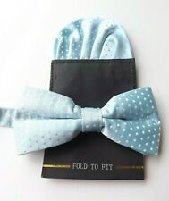 NEW! SILK Bow Tie and Pocket Square Ready Tied Blue 10 - 21 Inch Neck FREE P&P