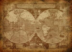 world map atlas globe earth antique old vintage print  satin paper