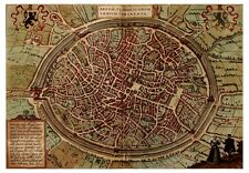 Bruges West Flanders Belgium bird's-eye view map Braun Hogenberg ca.1572