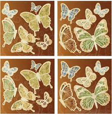 FOIL accented BUTTERFLIES silouhettes wall stickers 22 big colorful decals decor