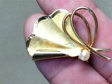 Vtg PING 60s Modernist Butterfly Pin Brooch 1/20 12k Gold Filled w/ Real Pearl