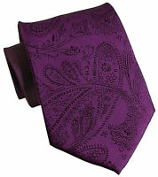 New Men's Polyester Woven Neck Tie necktie only purple paisley prom wedding