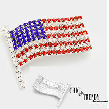 Flag Pin Broach Chic Trendy Jewelry Patriotic Red White Blue Crystal American