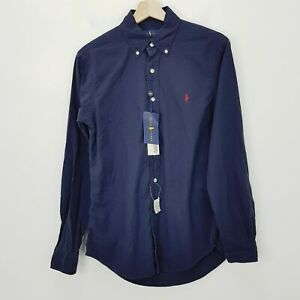 RALPH LAUREN Polo Mens Size S Navy Classic L/S Slim Fit Shirt NEW + TAGS