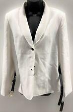 Tahari Women's ASL Belted Colorblocked Suit Jacket/Blazer Size 12 - Ivory