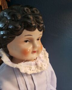 """15"""" Vintage Porcelain China Head Low Brow Hertwig Style Marked """"5"""" Japan 1960s"""