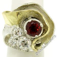 Designer 18K Gold Sterling Silver 2.73ctw Garnet Diamond Textured Cocktail Ring