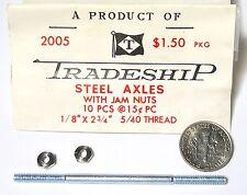 "1pc TRADESHIP 1/24 1/32 Slot Car THREADED STEEL AXLE 1/8""x2 3/4""  5/40 Thread A+"