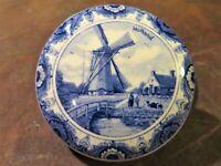 VTG Delft Blauw Agro Hand-Painted, Lidded Round Trinket Box Holland