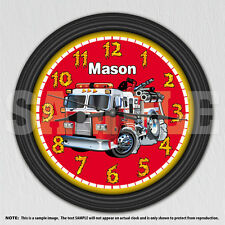 Fire Engine Truck Personalized Children's Wall Clock - Boys Room Decor